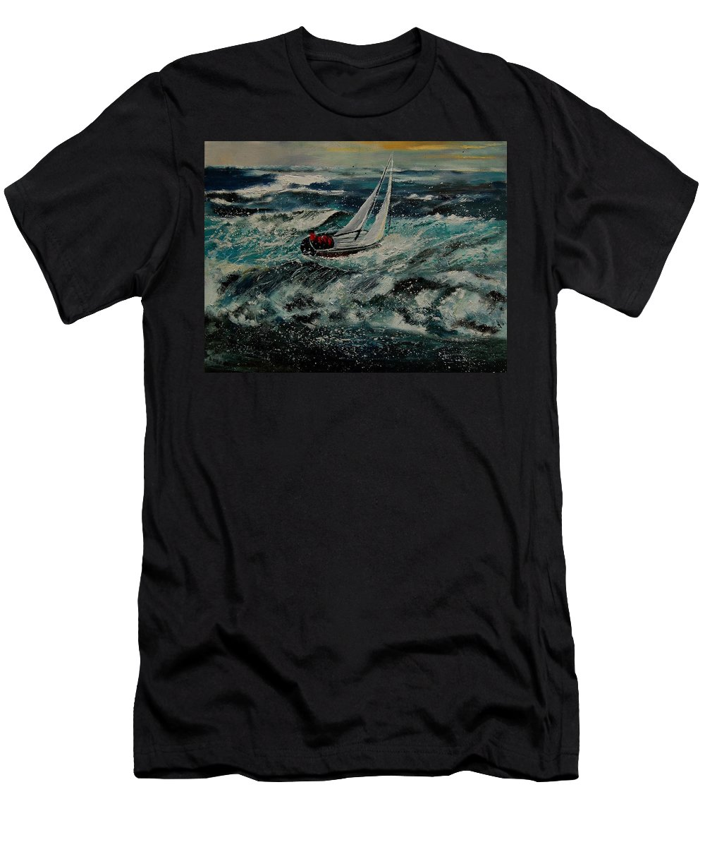 Sea Men's T-Shirt (Athletic Fit) featuring the painting Seascape 97 by Pol Ledent