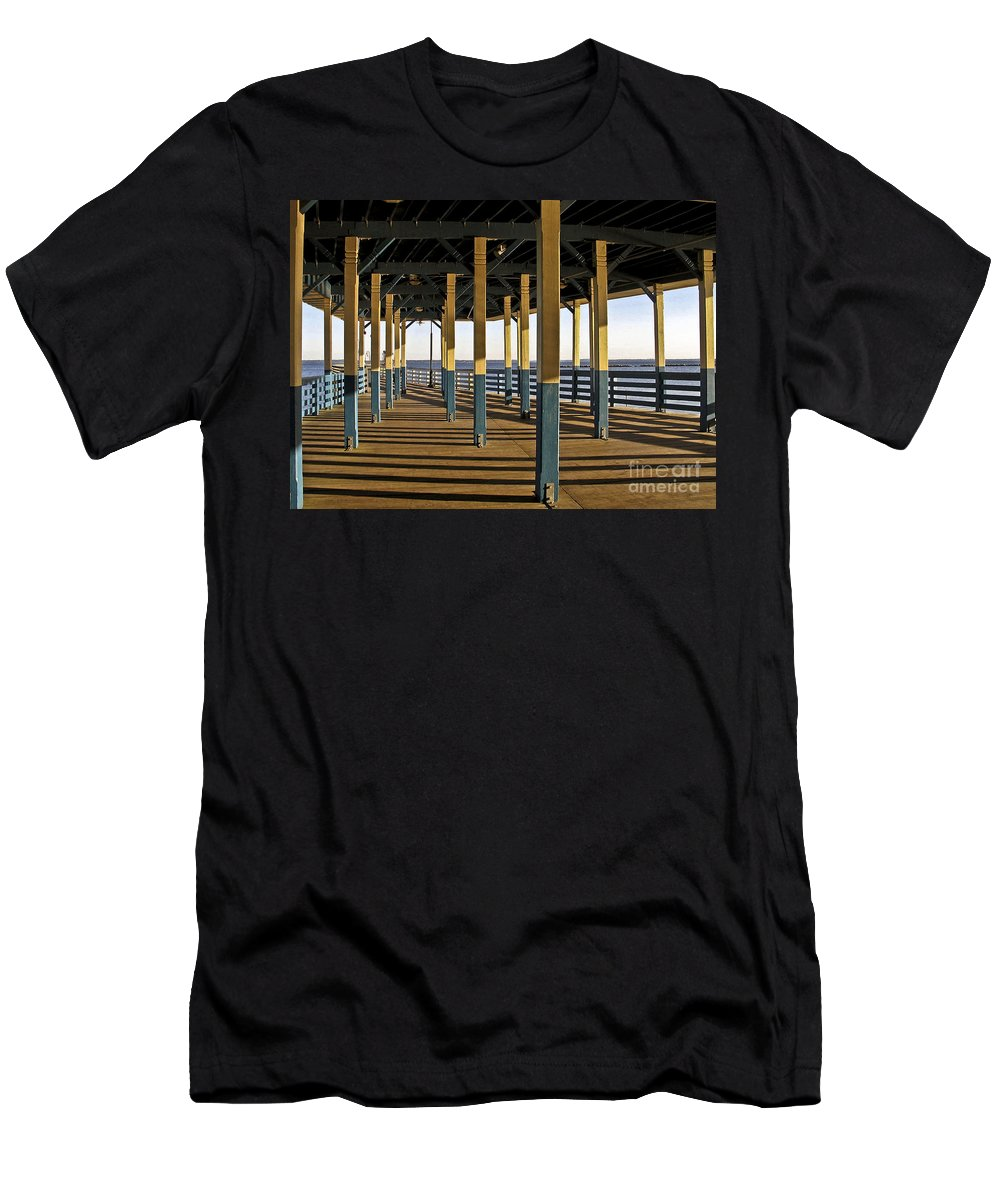 Seascape Men's T-Shirt (Athletic Fit) featuring the photograph Seascape Walk On The Pier by Carol F Austin