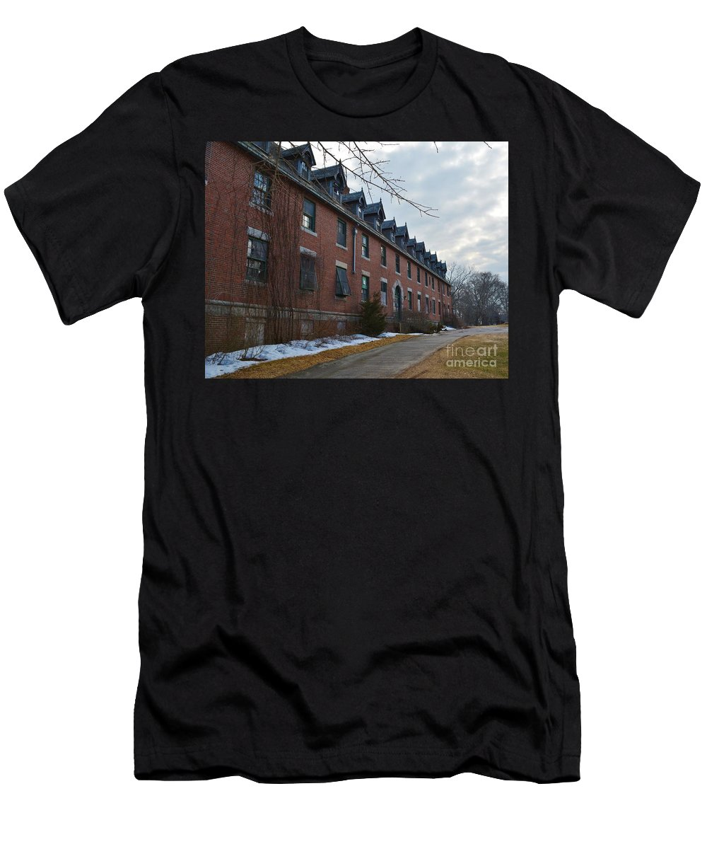 Abandoned Hospital Men's T-Shirt (Athletic Fit) featuring the photograph Seaside 5 by Virginia Levasseur