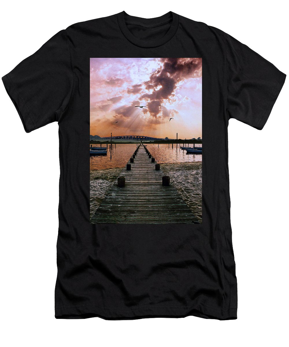 Seascape Men's T-Shirt (Athletic Fit) featuring the photograph Seaside by Steve Karol