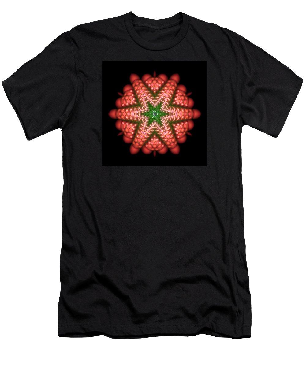 Mandala Men's T-Shirt (Athletic Fit) featuring the digital art Seastar Lightmandala 2 by Robert Thalmeier