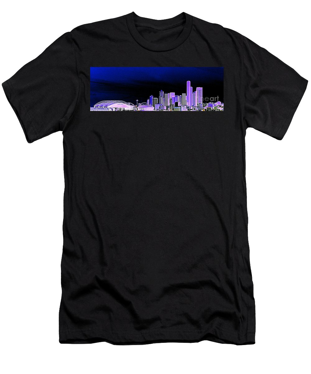 Seattle Men's T-Shirt (Athletic Fit) featuring the photograph Seattle Blue 2 by Nick Gustafson
