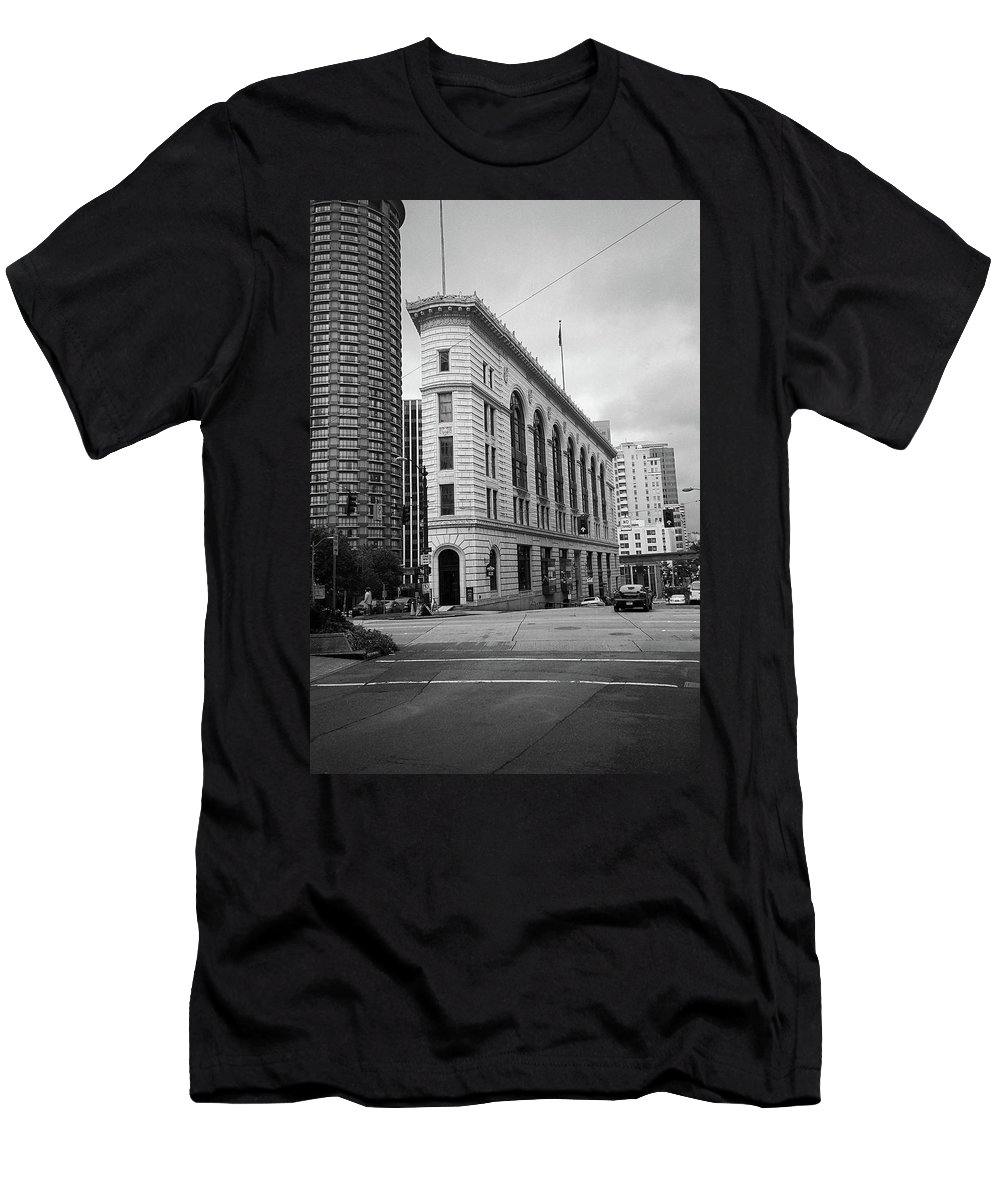 America Men's T-Shirt (Athletic Fit) featuring the photograph Seattle - Misty Architecture 2 Bw by Frank Romeo