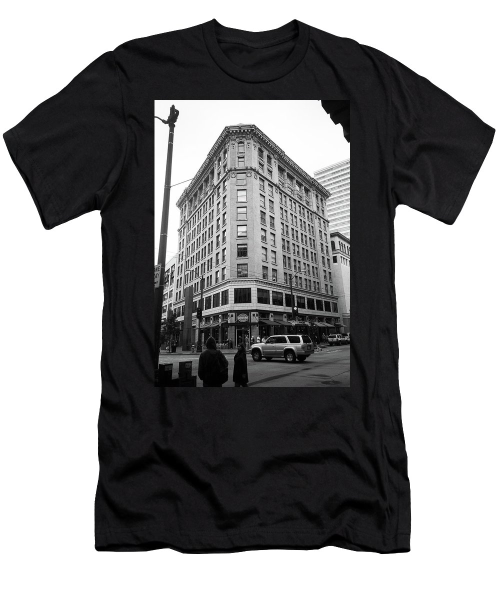America Men's T-Shirt (Athletic Fit) featuring the photograph Seattle - Misty Architecture Bw by Frank Romeo