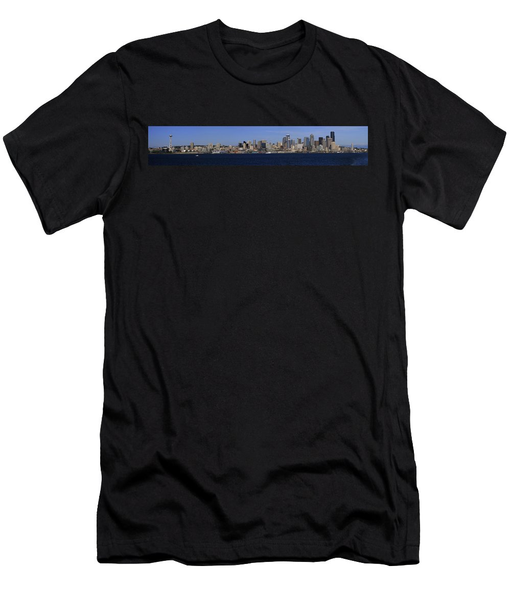 3scape Men's T-Shirt (Athletic Fit) featuring the photograph Seattle Panoramic by Adam Romanowicz