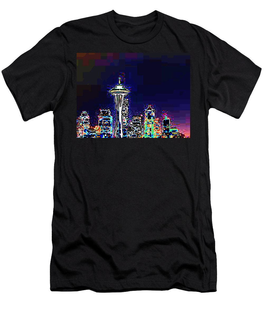 Seattle Men's T-Shirt (Athletic Fit) featuring the photograph Seattle Skyline by Tim Allen