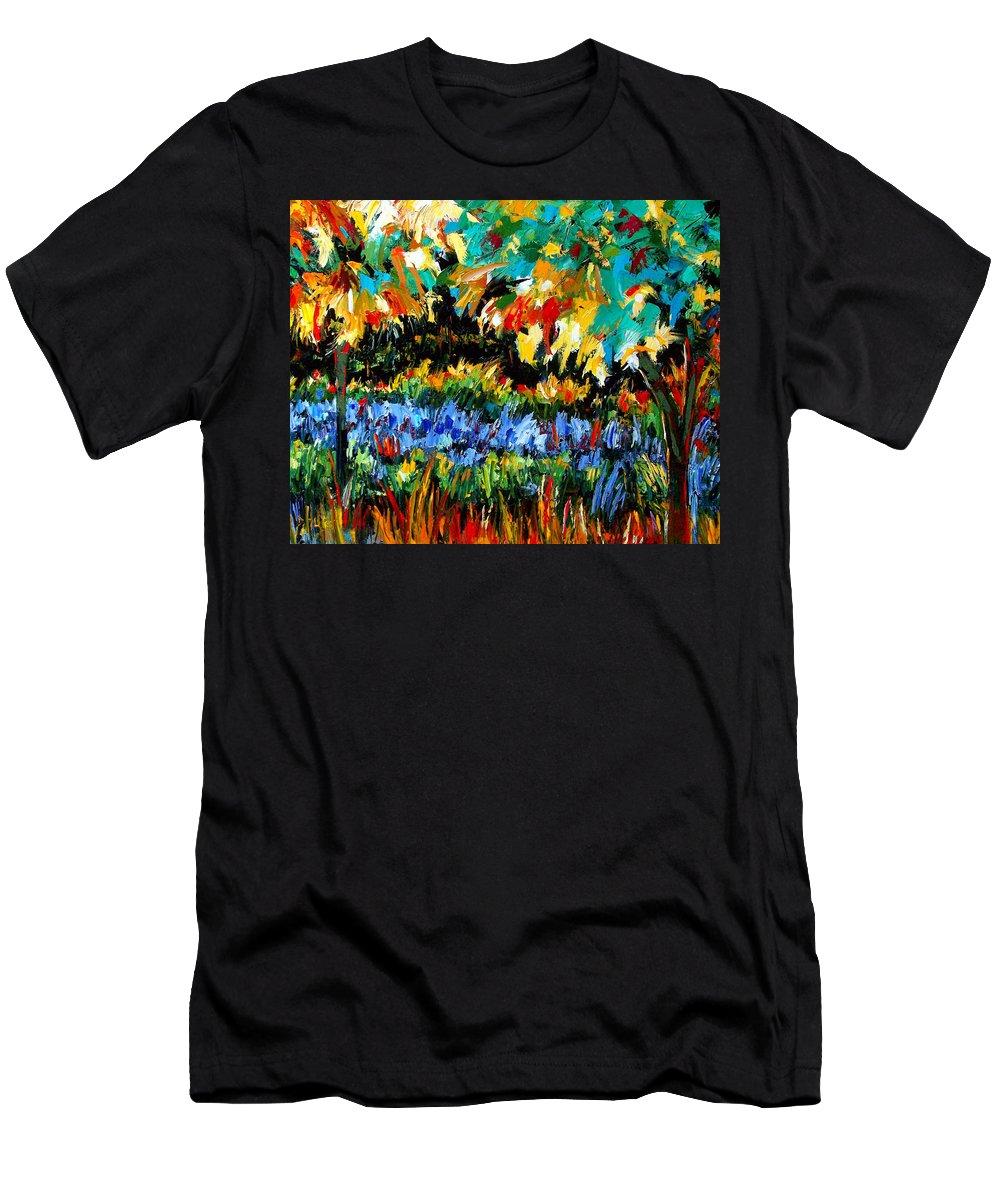 Landscape Men's T-Shirt (Athletic Fit) featuring the painting Secret Garden by Debra Hurd