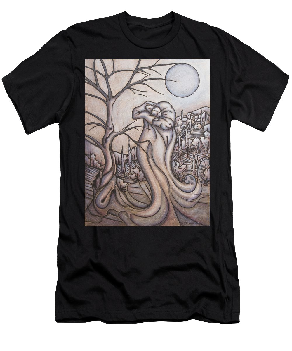 Dream. Moon T-Shirt featuring the painting Secrets and Dreams by Judy Henninger