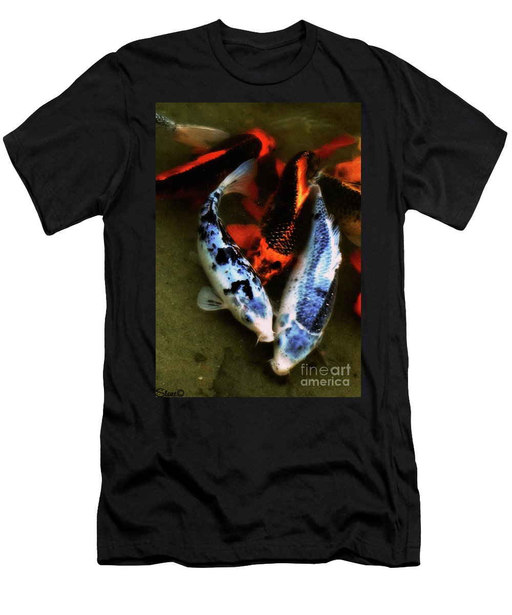 Koi Men's T-Shirt (Athletic Fit) featuring the photograph Secrets Of The Wild Koi 10 by September Stone