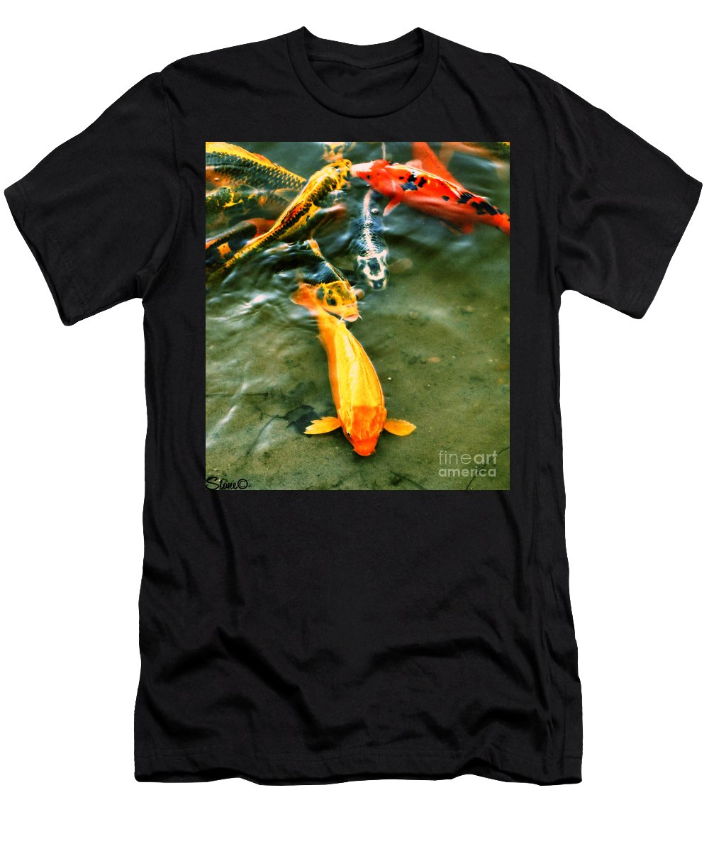 Koi Men's T-Shirt (Athletic Fit) featuring the photograph Secrets Of The Wild Koi 11 by September Stone