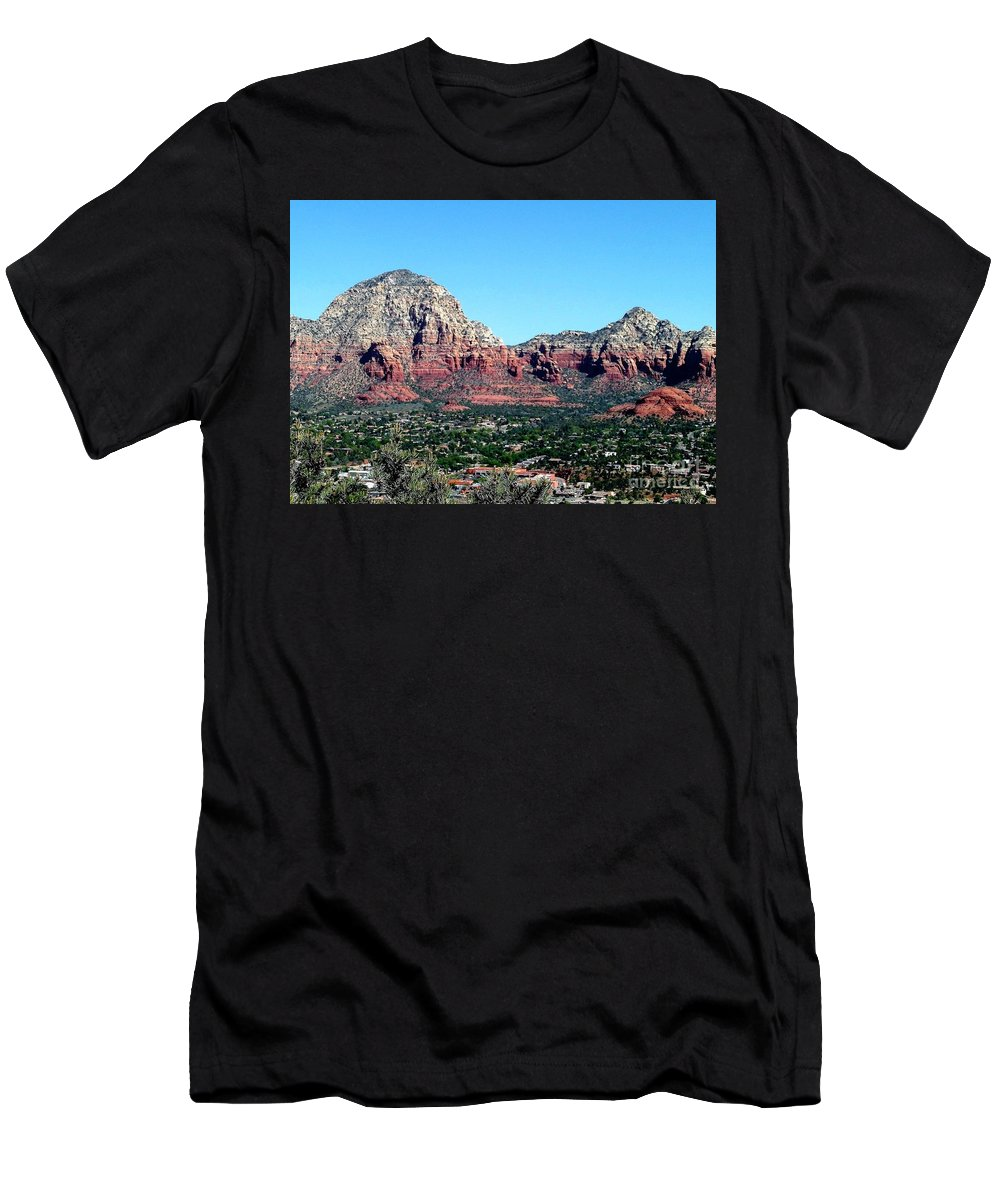 Sedona Men's T-Shirt (Athletic Fit) featuring the photograph Sedona Arizona City Scape by Diann Fisher