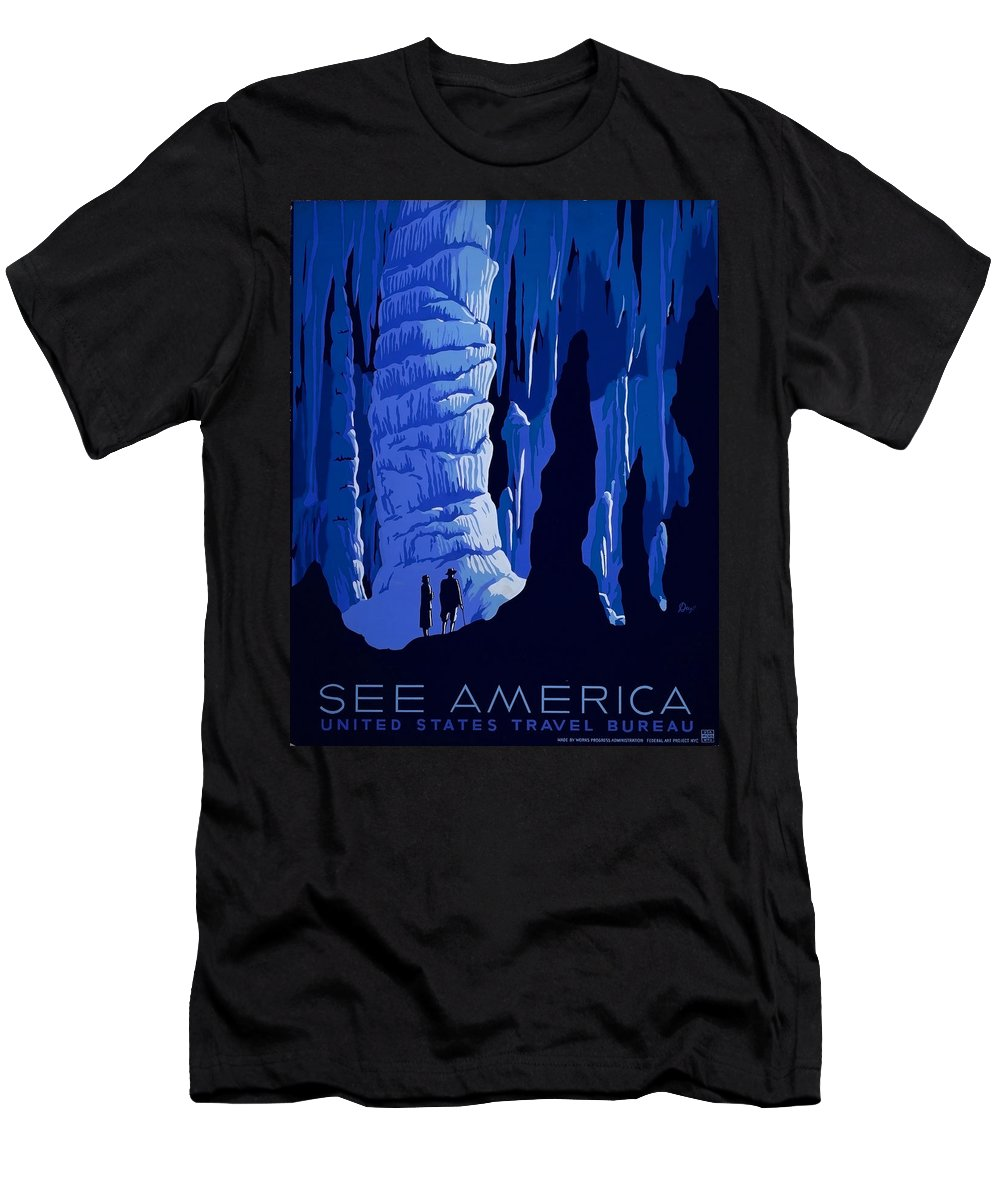 America Men's T-Shirt (Athletic Fit) featuring the painting See America, Inside Cave by Long Shot