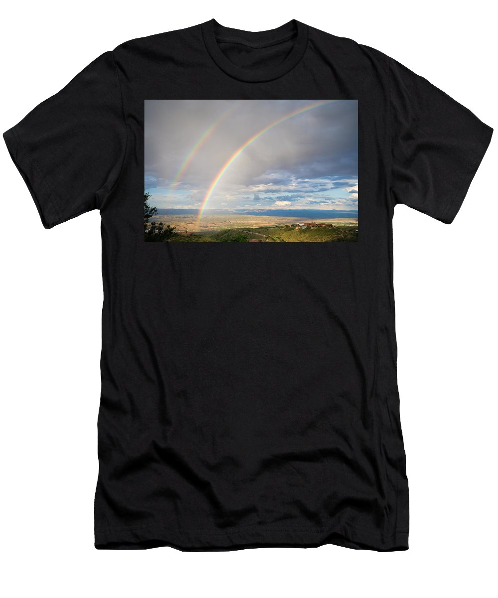 Rainbow Men's T-Shirt (Athletic Fit) featuring the photograph Seeing Double by Alexey Stiop