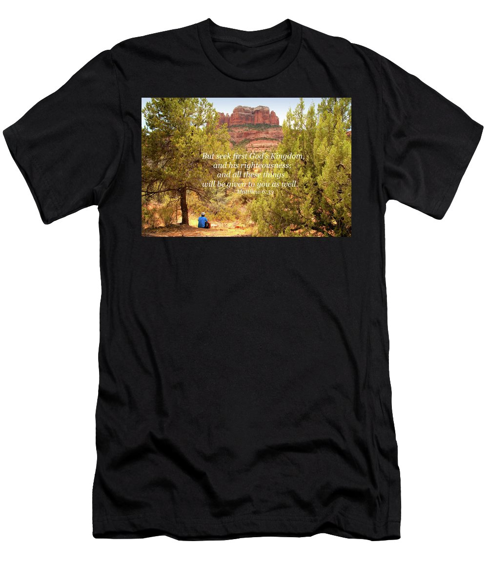 Landscape Men's T-Shirt (Athletic Fit) featuring the photograph Seek First God's Kingdom by Kim Warden