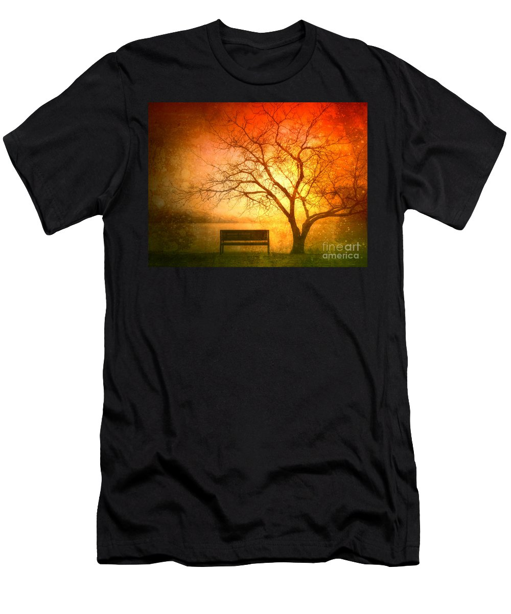 Bench Men's T-Shirt (Athletic Fit) featuring the photograph Seeking Shelter by Tara Turner