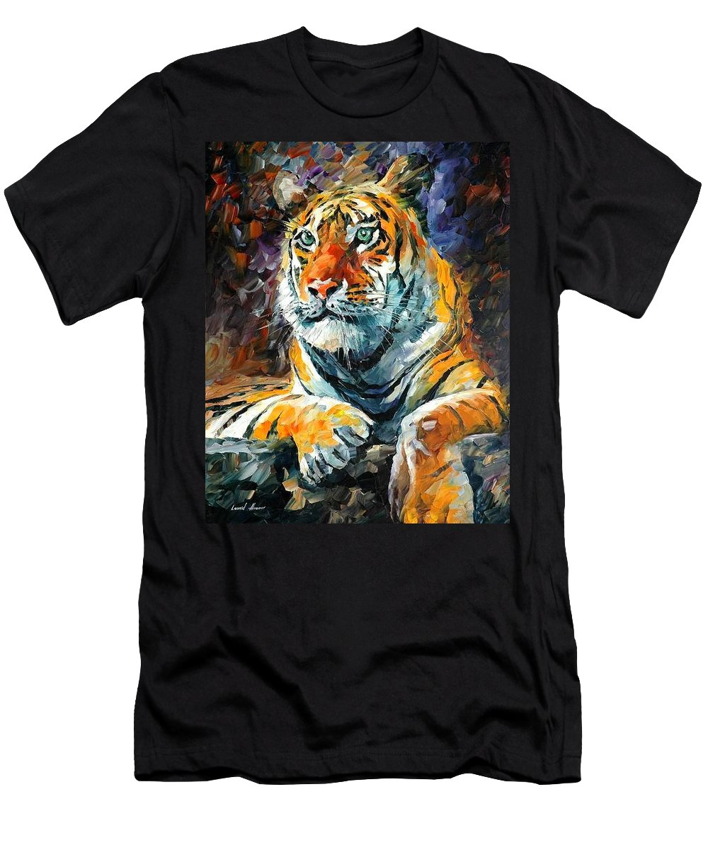 Painting Men's T-Shirt (Athletic Fit) featuring the painting Seibirian Tiger by Leonid Afremov