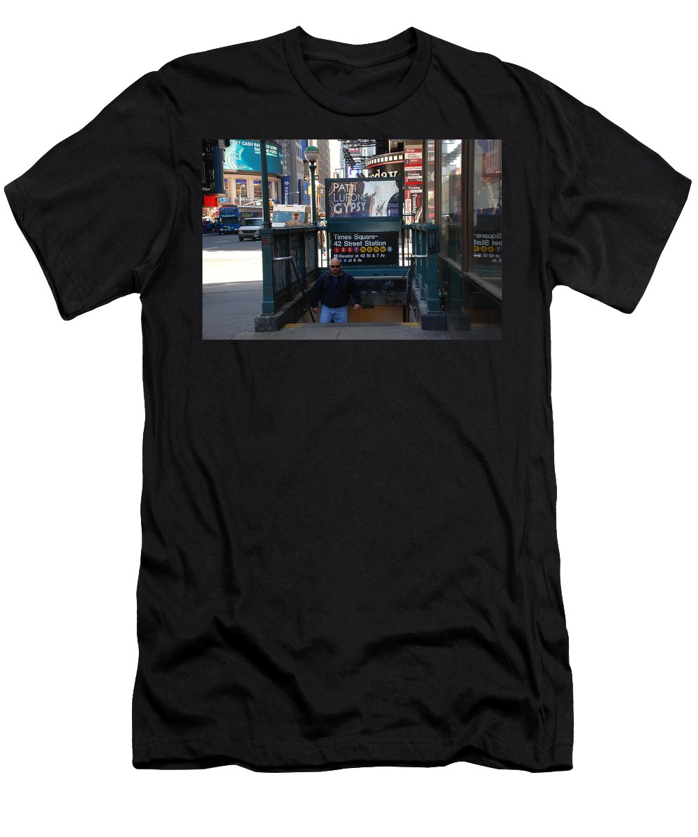 Subay Men's T-Shirt (Athletic Fit) featuring the photograph Self At Subway Stairs by Rob Hans