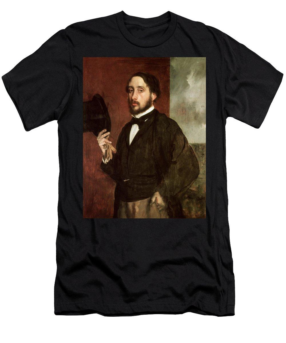 Self Portrait Men's T-Shirt (Athletic Fit) featuring the painting Self Portrait by Edgar Degas