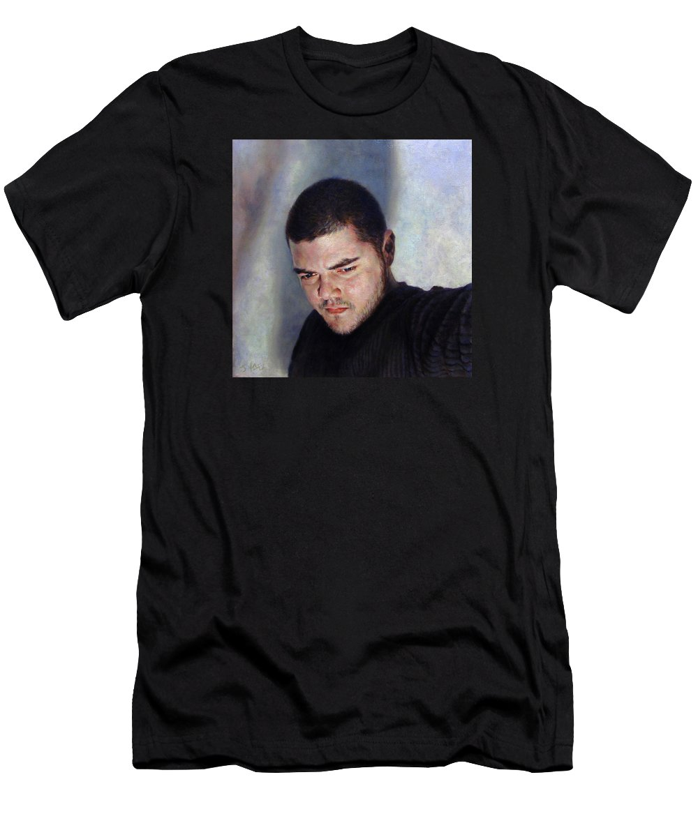 Self Men's T-Shirt (Athletic Fit) featuring the painting Self Portrait W Shadows by Joe Velez