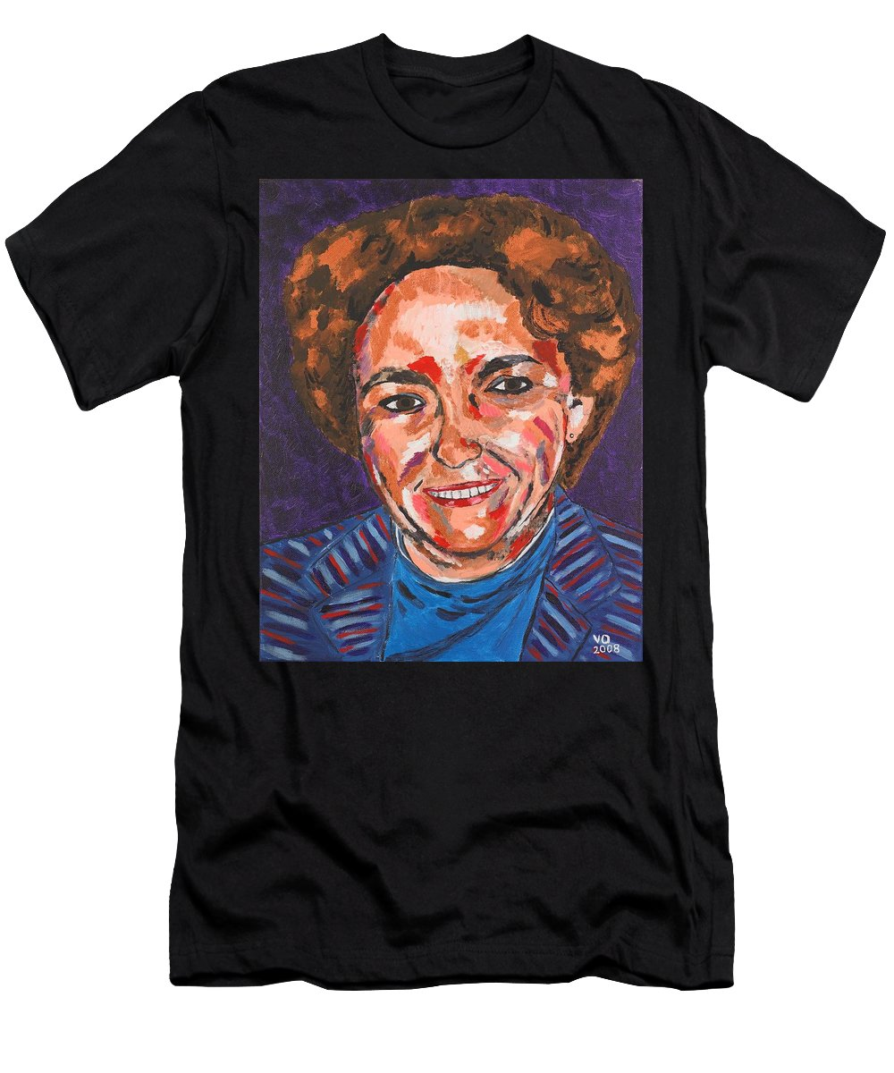 Portrait Men's T-Shirt (Athletic Fit) featuring the painting Self-portrait With Blue Jacket by Valerie Ornstein