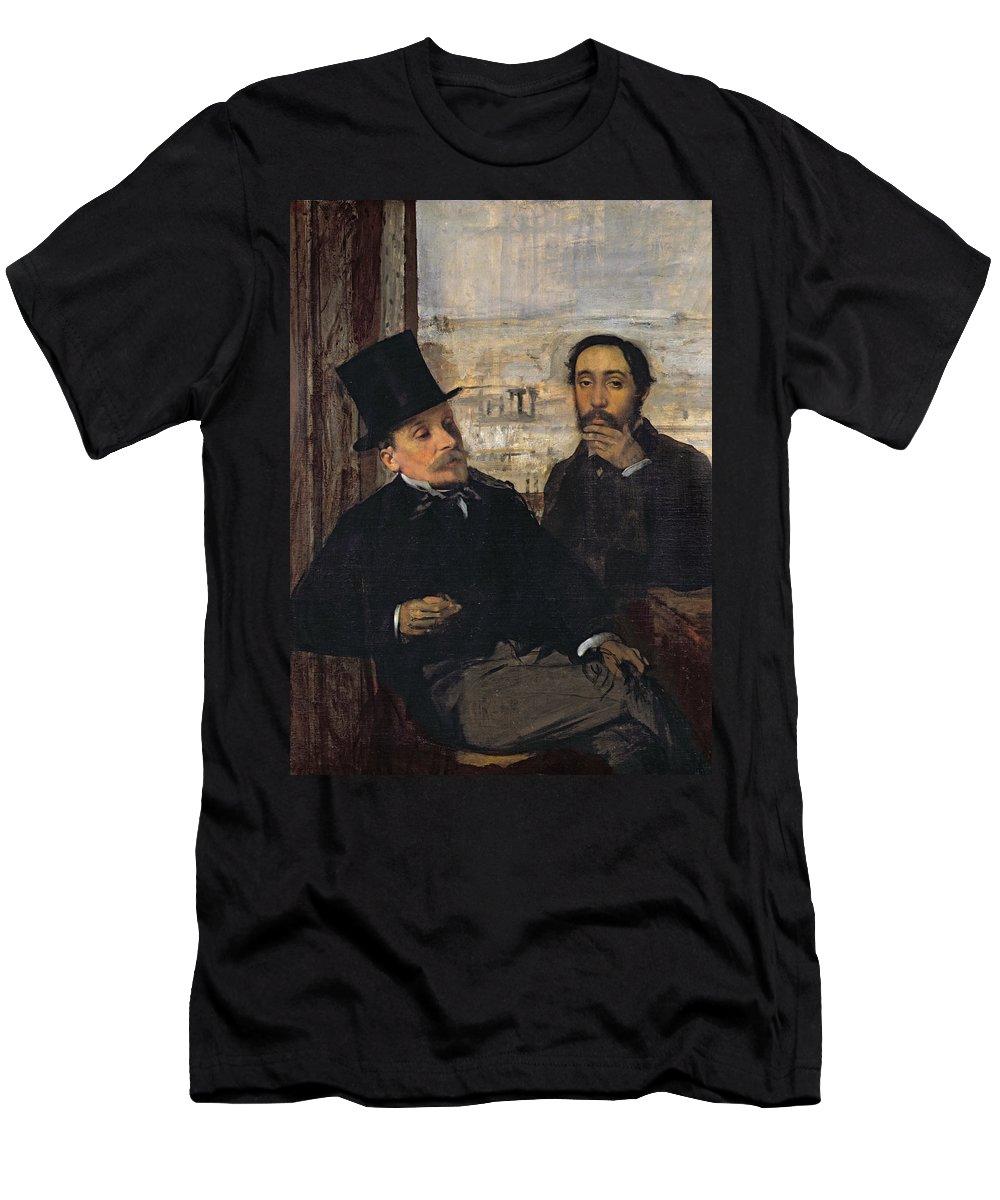 Self Portrait With Evariste De Valernes (1816-96) C.1865 (oil On Canvas) By Edgar Degas (1834-1917) Men's T-Shirt (Athletic Fit) featuring the painting Self Portrait With Evariste De Valernes by Edgar Degas