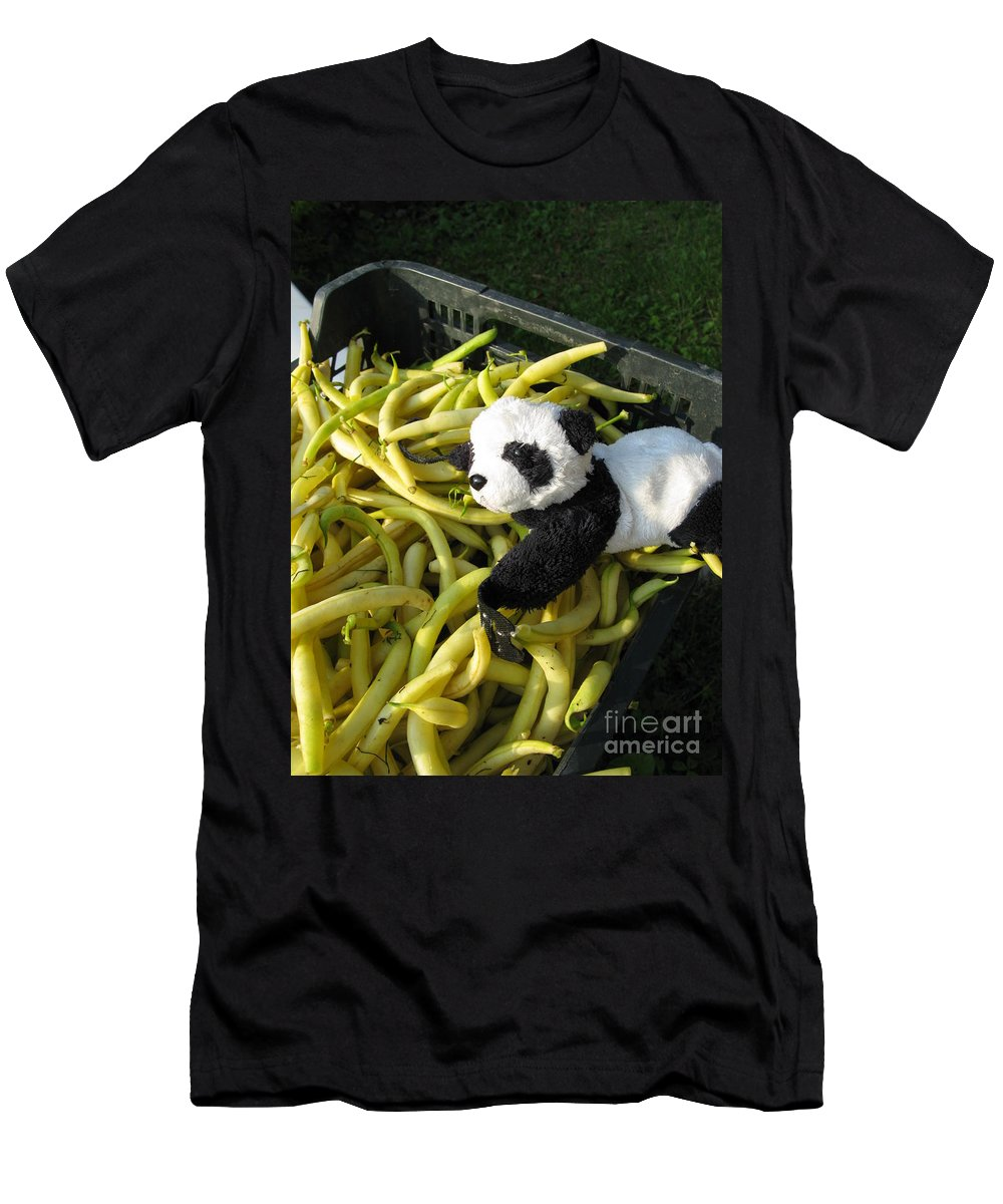 Baby Panda Men's T-Shirt (Athletic Fit) featuring the photograph Selling Beans by Ausra Huntington nee Paulauskaite
