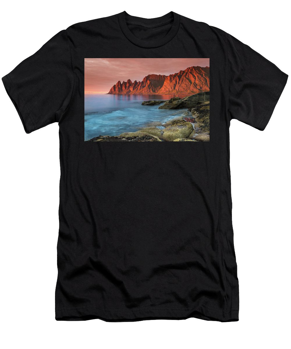 Senja Men's T-Shirt (Athletic Fit) featuring the photograph Senja Red by Alex Conu