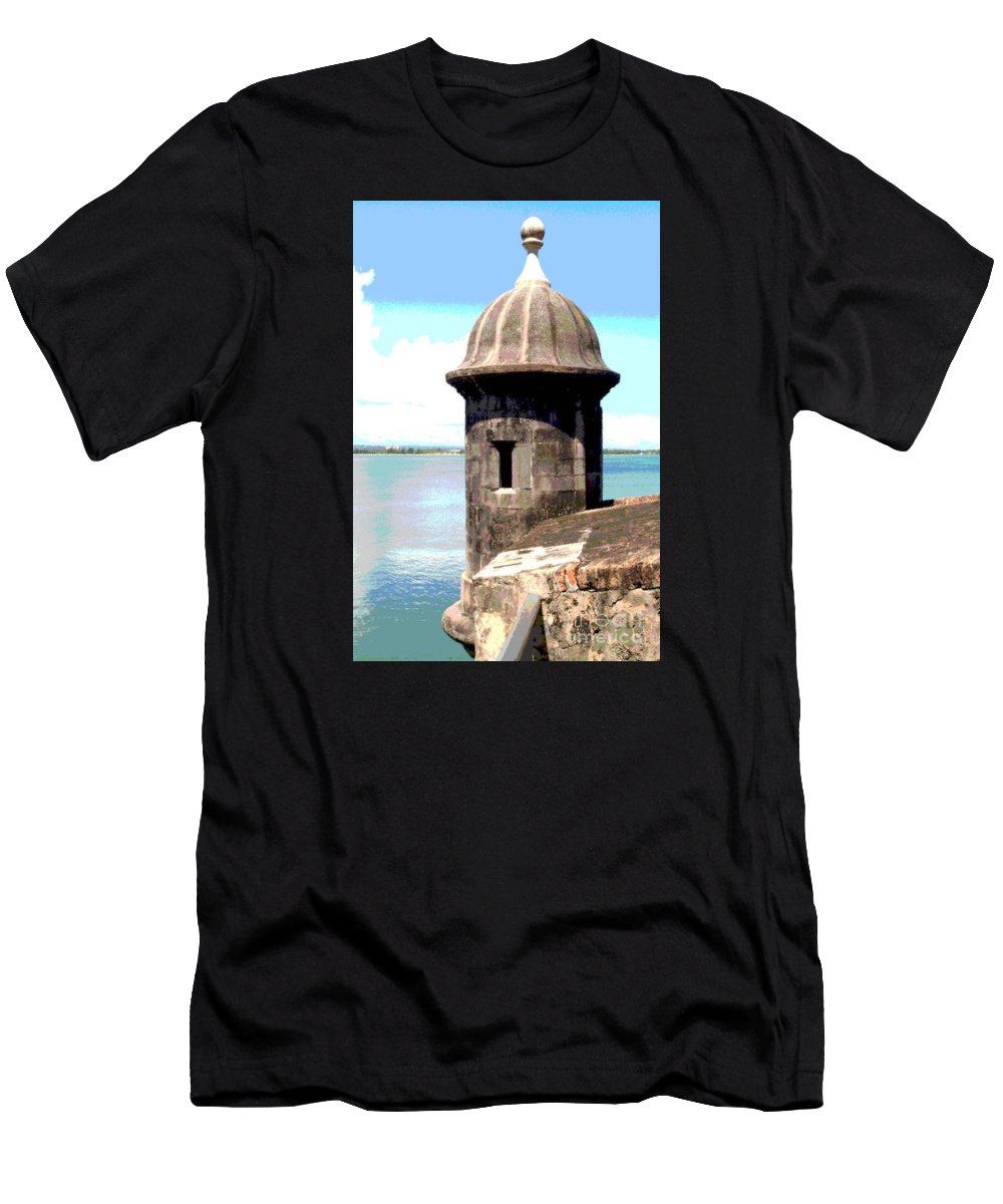 Sentry Men's T-Shirt (Athletic Fit) featuring the photograph Sentry Box In El Morro by The Art of Alice Terrill