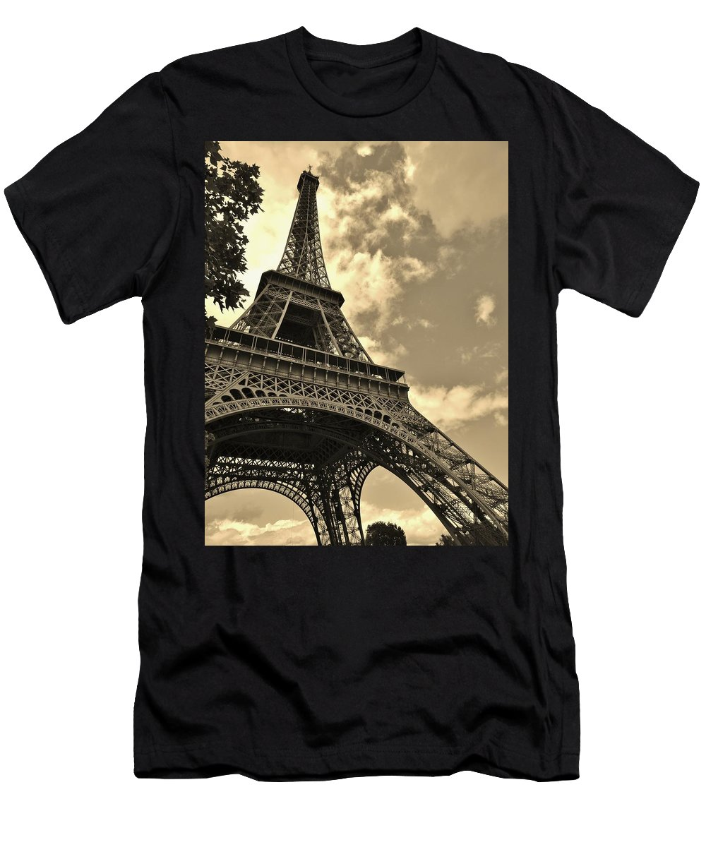 Paris Men's T-Shirt (Athletic Fit) featuring the photograph Sepia Eiffel by Victor Carvalho