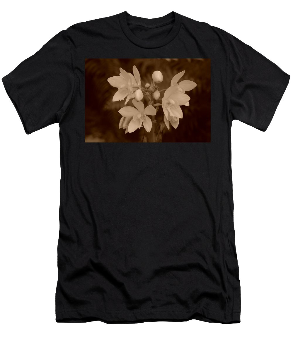 Macro Men's T-Shirt (Athletic Fit) featuring the photograph Sepia Flower by Rob Hans