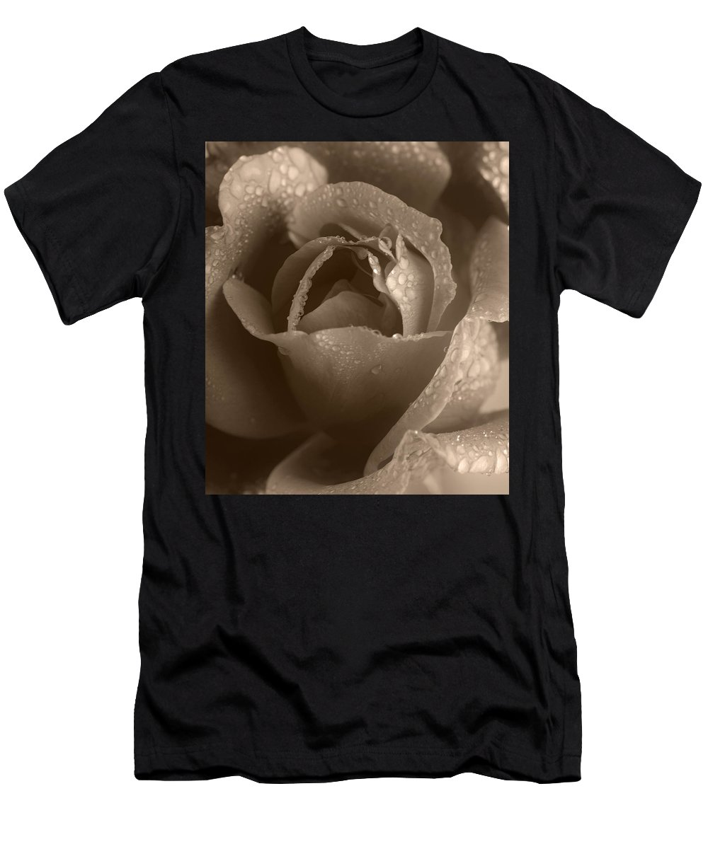 Rose Men's T-Shirt (Athletic Fit) featuring the photograph Sepia Rose by Stephen Anderson