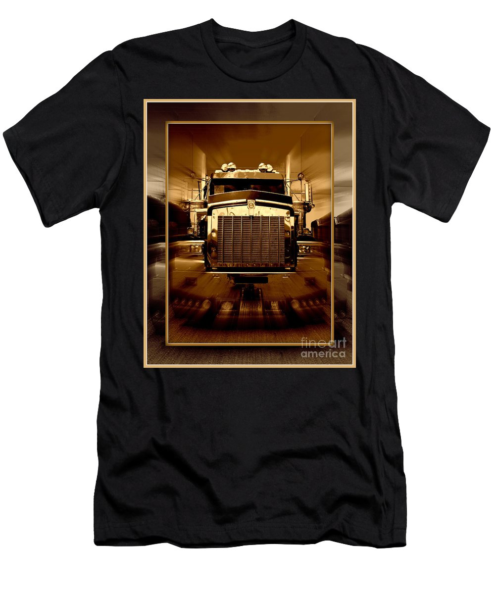 Trucks Men's T-Shirt (Athletic Fit) featuring the photograph Sepia Toned Kenworth Abstract by Randy Harris