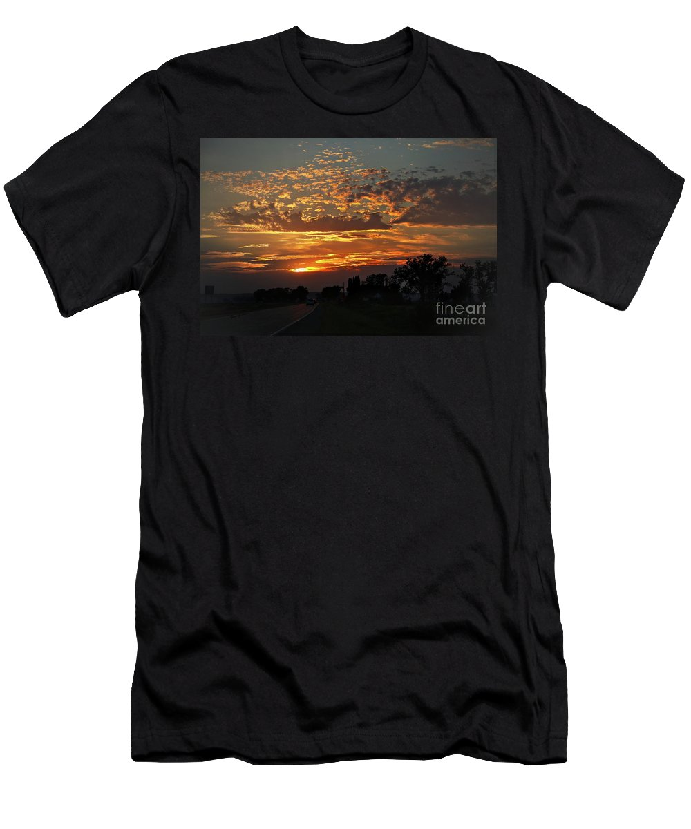Sunset Men's T-Shirt (Athletic Fit) featuring the photograph Sept Sunset by Yumi Johnson