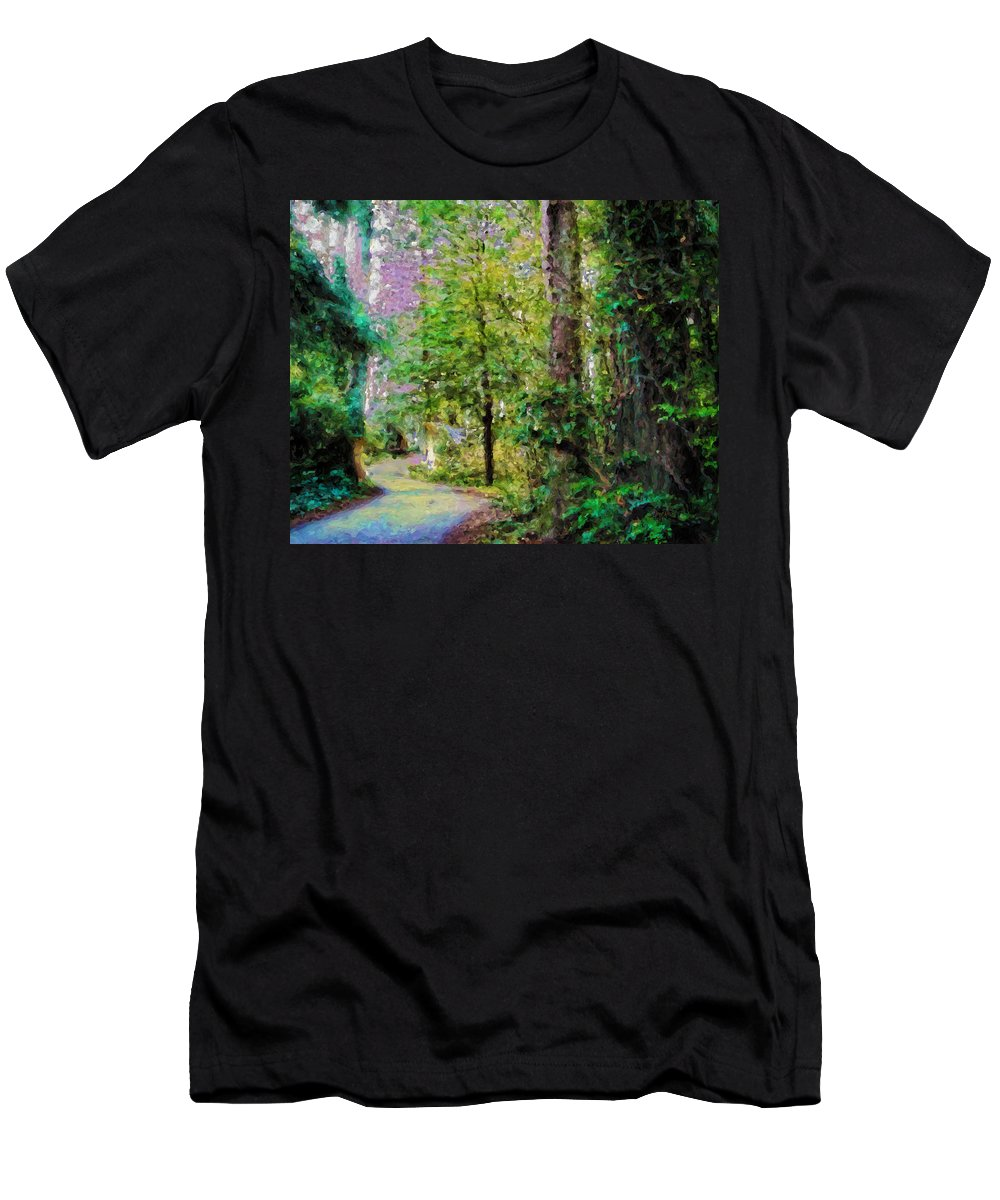 Sequoia Men's T-Shirt (Athletic Fit) featuring the painting Sequoia Park #1 by  DonaRose