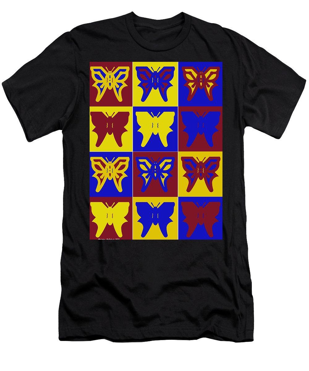 Butterflies Men's T-Shirt (Athletic Fit) featuring the tapestry - textile Serendipity Butterflies Brickgoldblue 1 by Christine McCole