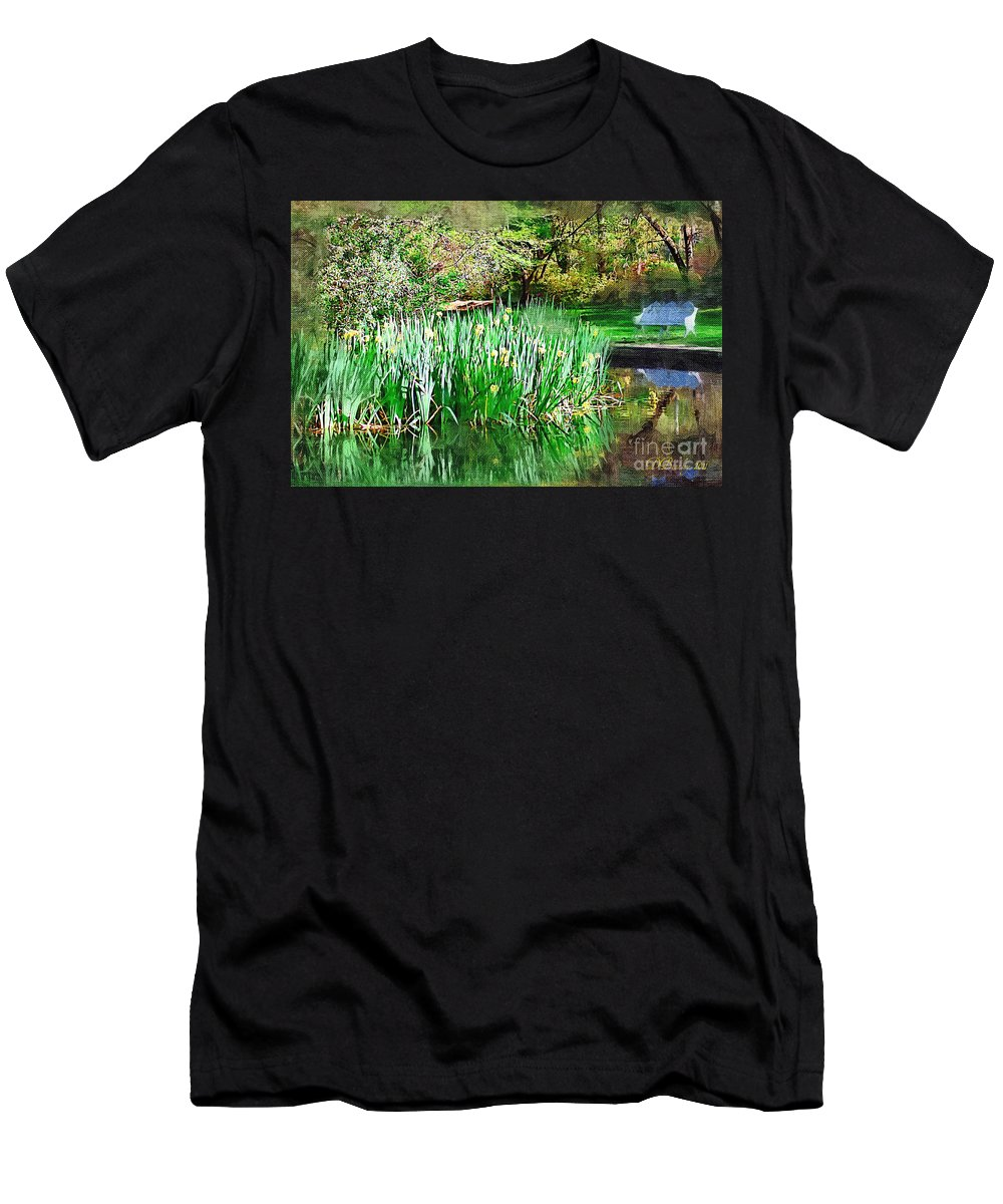 Park Men's T-Shirt (Athletic Fit) featuring the photograph Serene Iris by Donna Bentley
