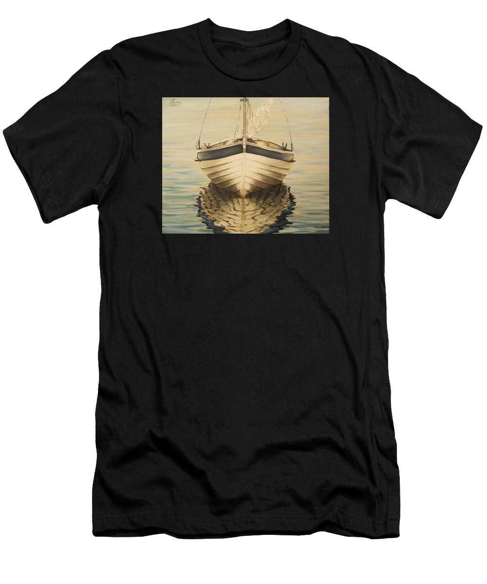 Seascape Men's T-Shirt (Athletic Fit) featuring the painting Serenity by Natalia Tejera