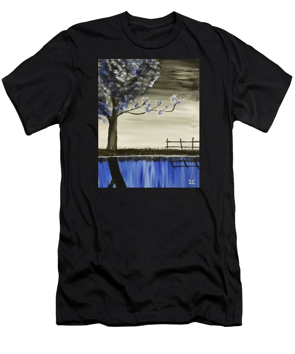 Tree Men's T-Shirt (Athletic Fit) featuring the painting Serenity by Stephanie Carriere