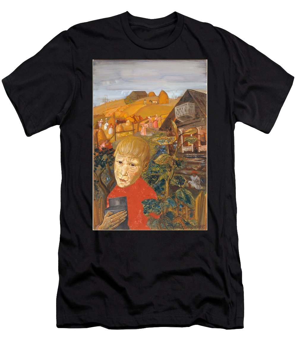 Man Men's T-Shirt (Athletic Fit) featuring the painting Sergei Esenin 1895-1925 As A Youth, Boris Grigoriev by Artistic Panda