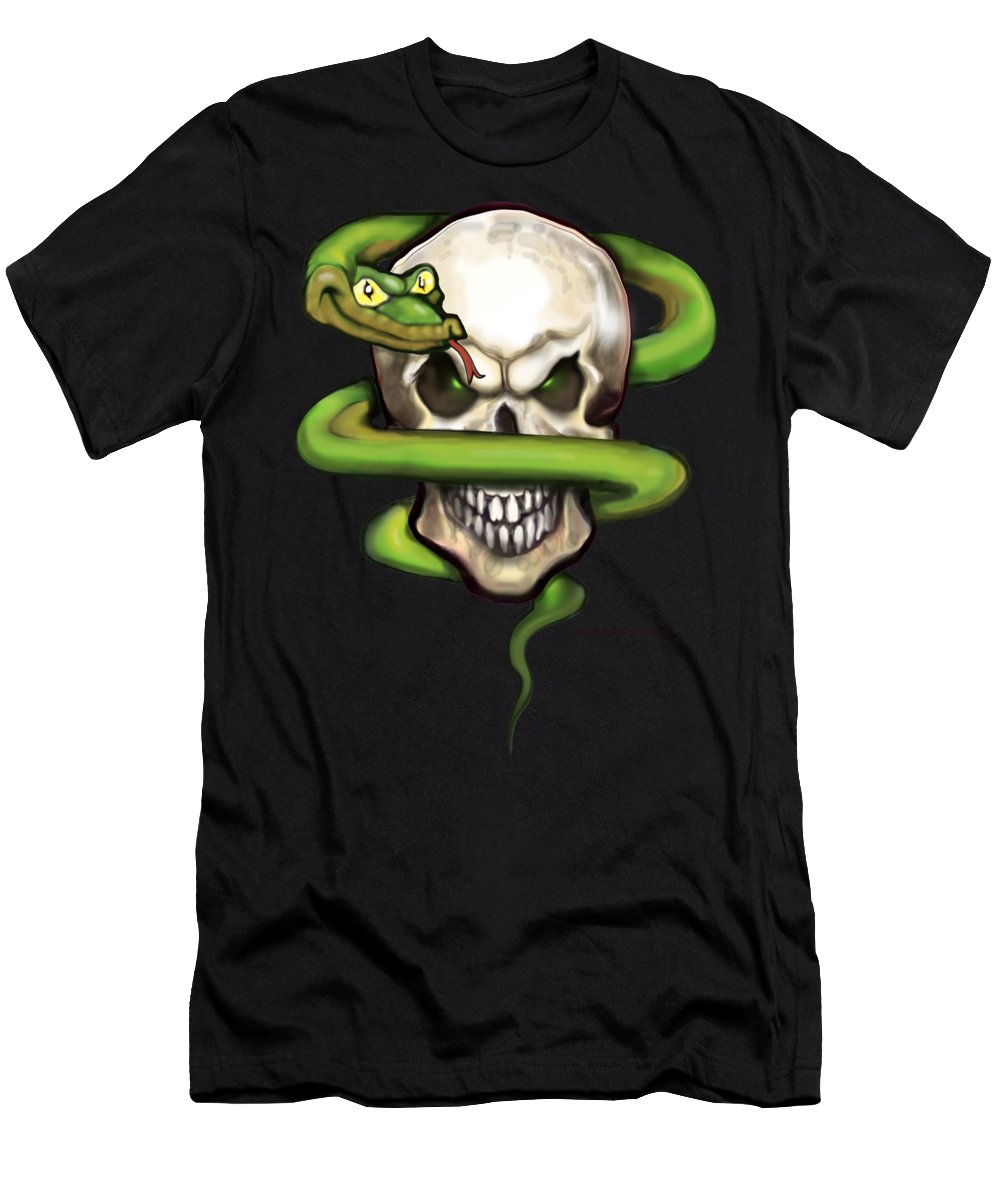Serpent Men's T-Shirt (Athletic Fit) featuring the digital art Serpent Evil Skull by Kevin Middleton
