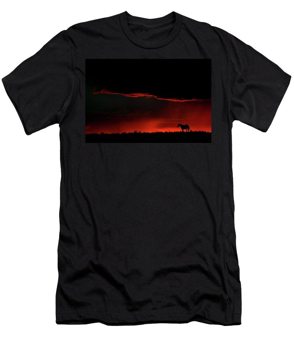 Horse Men's T-Shirt (Athletic Fit) featuring the digital art Set Sun Silhouetting Horse On Saskatchewan Ridge by Mark Duffy