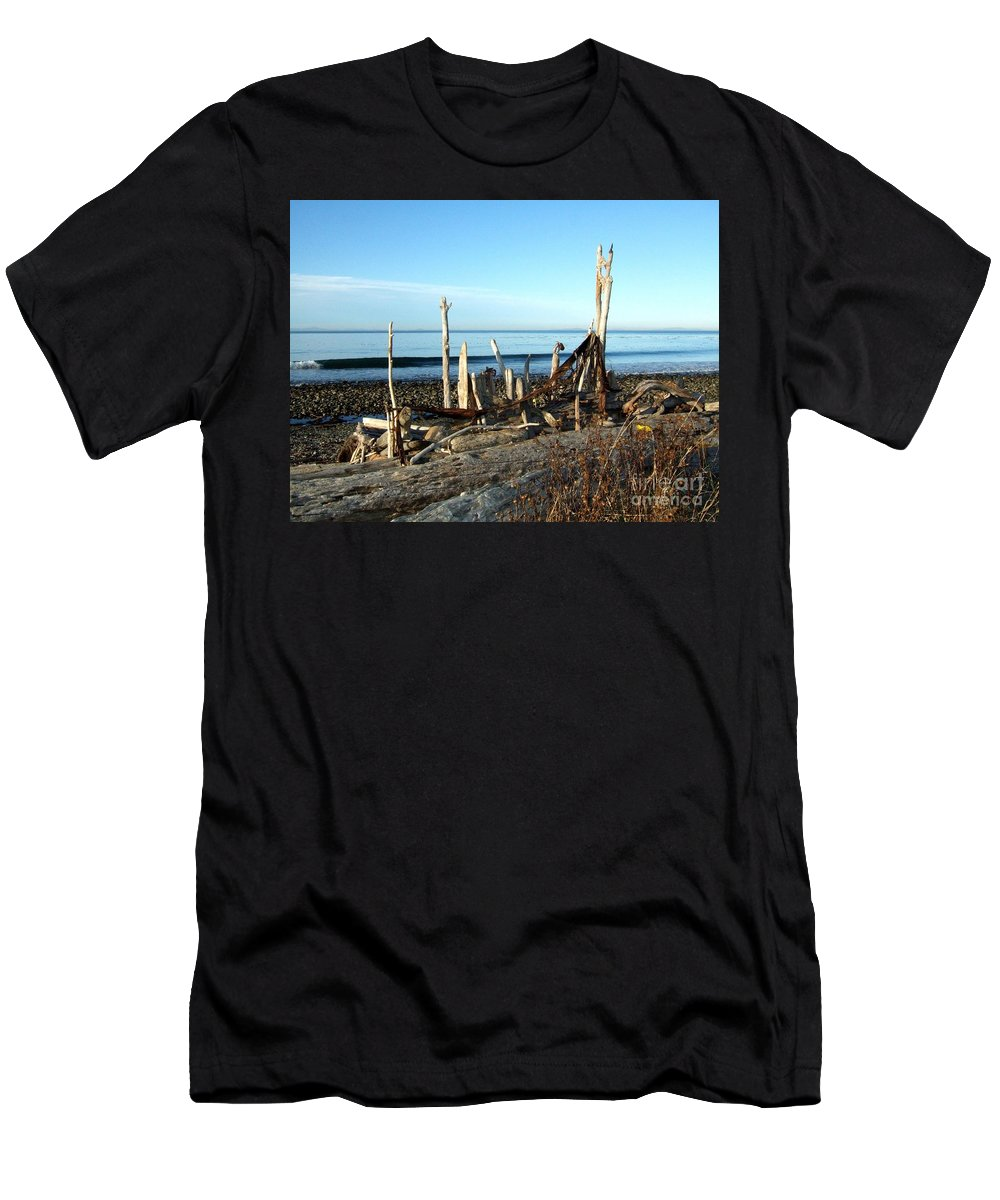 Still Life Men's T-Shirt (Athletic Fit) featuring the photograph Seth's Seaside Driftwood Sculpture by Delores Malcomson