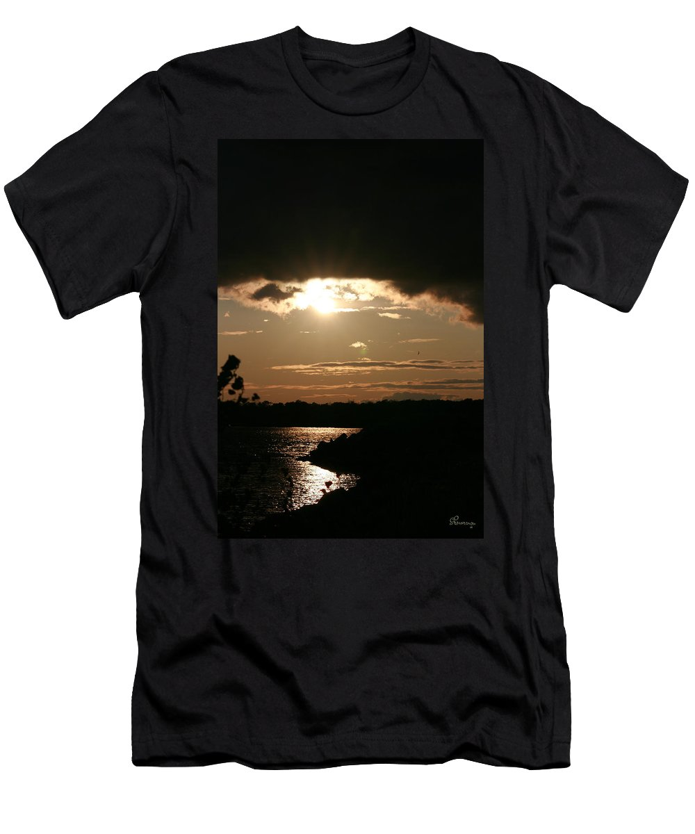 Sunset Lake Water Trees Rocks Shore Clouds Men's T-Shirt (Athletic Fit) featuring the photograph Setting Sun by Andrea Lawrence