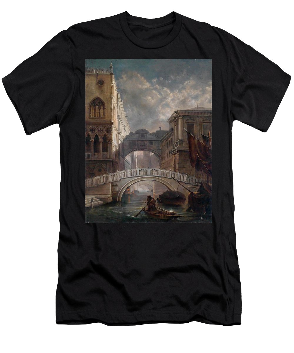 Friedrich Nerly (circle) Seufzerbr�cke Men's T-Shirt (Athletic Fit) featuring the painting Seufzerbrucke Venice by MotionAge Designs
