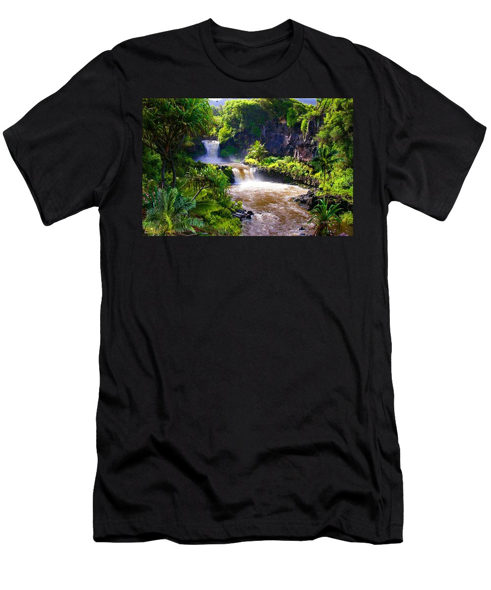 Waterfall Men's T-Shirt (Athletic Fit) featuring the photograph Seven Sacred Pools Maui by Michael Rucker