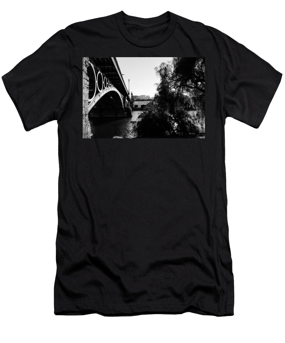 Seville Men's T-Shirt (Athletic Fit) featuring the photograph Seville - Triana Bridge by Andrea Mazzocchetti
