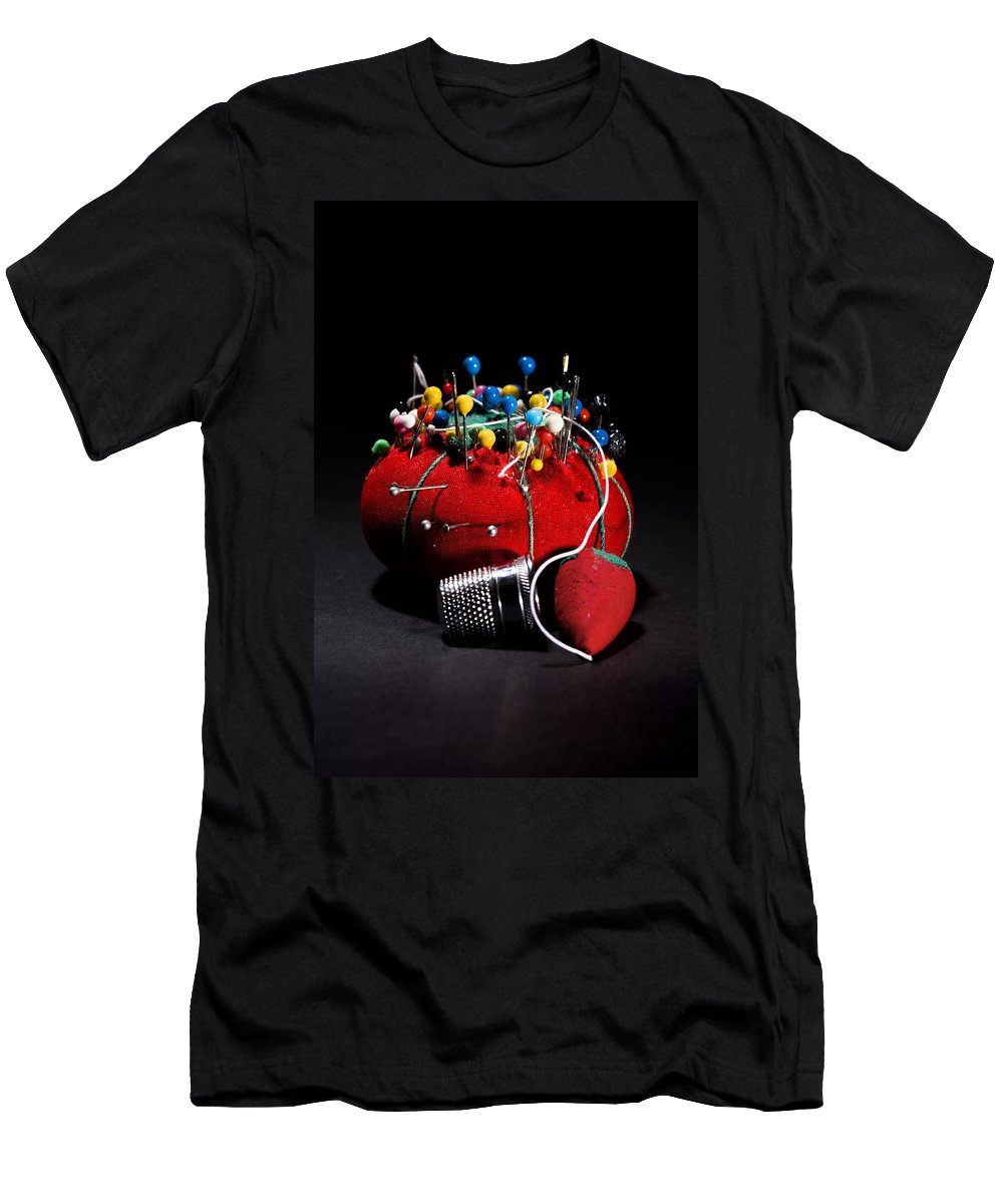Needle Men's T-Shirt (Athletic Fit) featuring the photograph Sewing Equipment - Pin Cushion by Donald Erickson