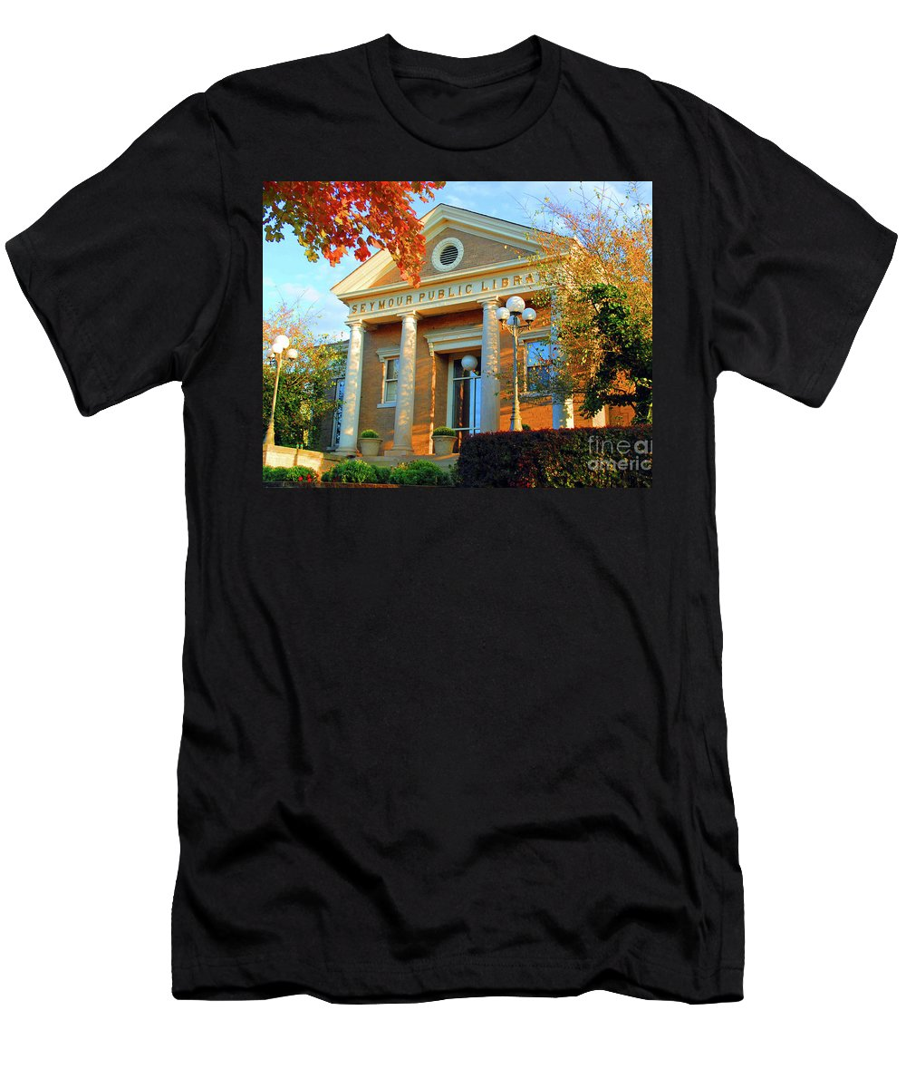Seymour Men's T-Shirt (Athletic Fit) featuring the photograph Seymour Public Library by Jost Houk