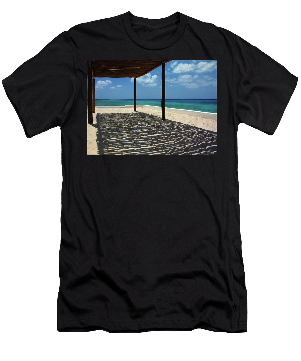 Beach Men's T-Shirt (Athletic Fit) featuring the painting Shade By The Beach by Bill McClurg