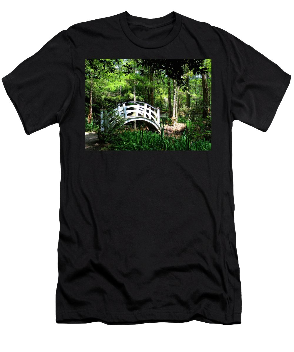 Bridge Men's T-Shirt (Athletic Fit) featuring the photograph Shaded Green by Susan Lotterer